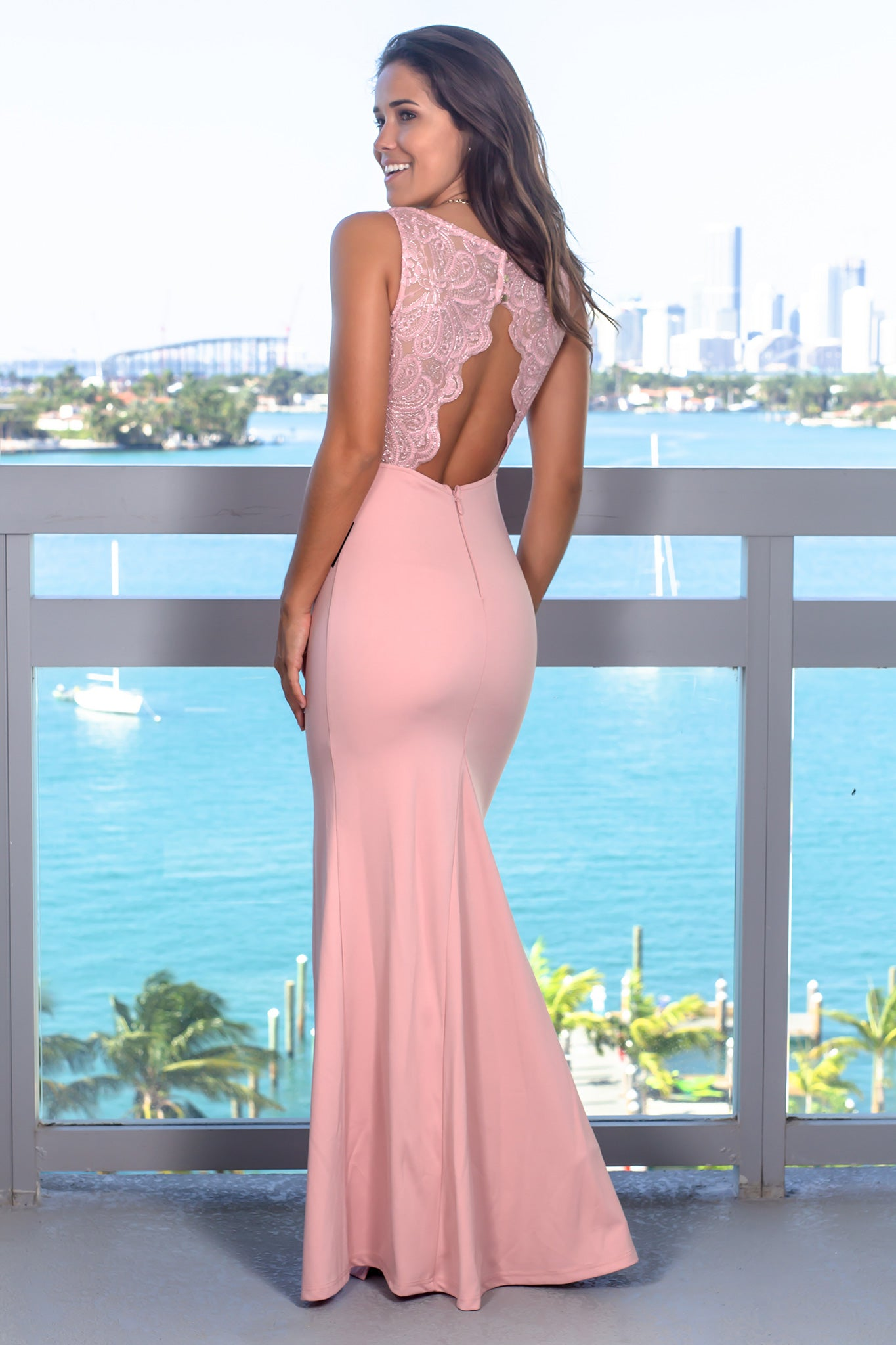 947ceb5a768 Pink Maxi Dress with Jeweled Belt and Open Back