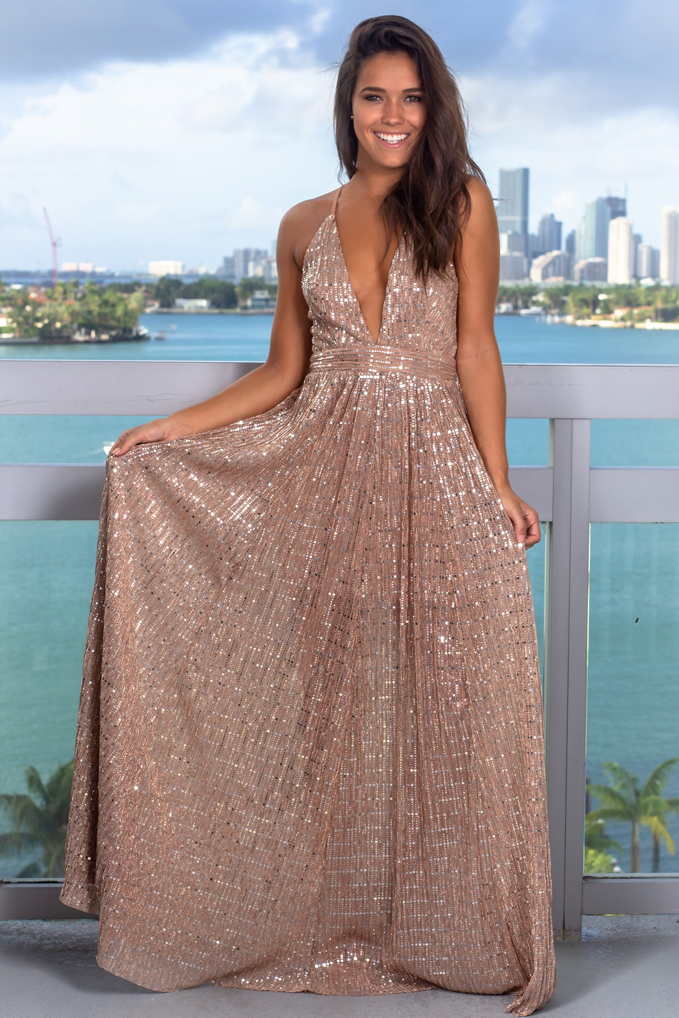 retail prices soft and light price reduced Mauve Sequin Maxi Dress with Criss Cross Back