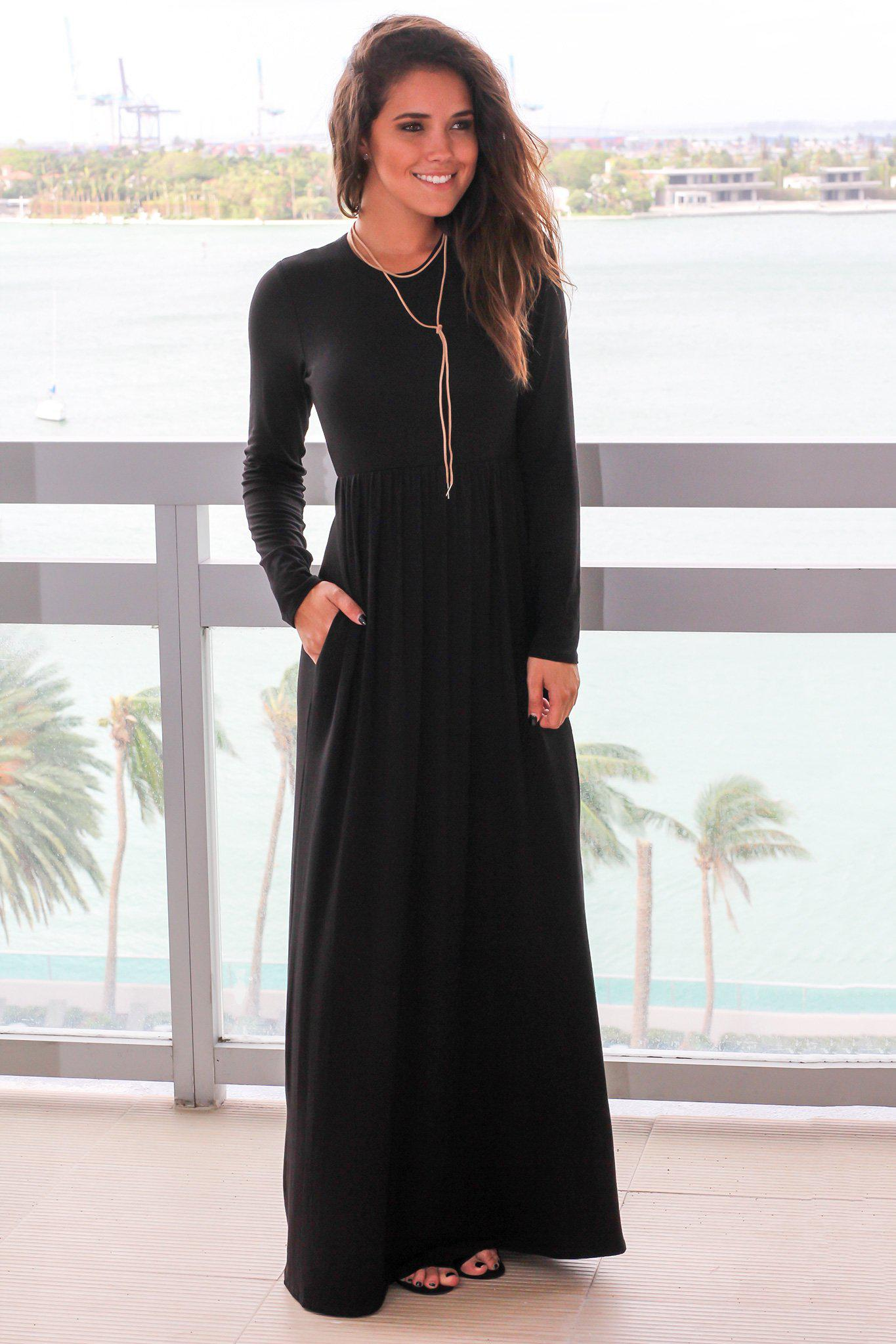 Long Sleeve Black Maxi Dress With Pockets Maxi Dresses Saved By
