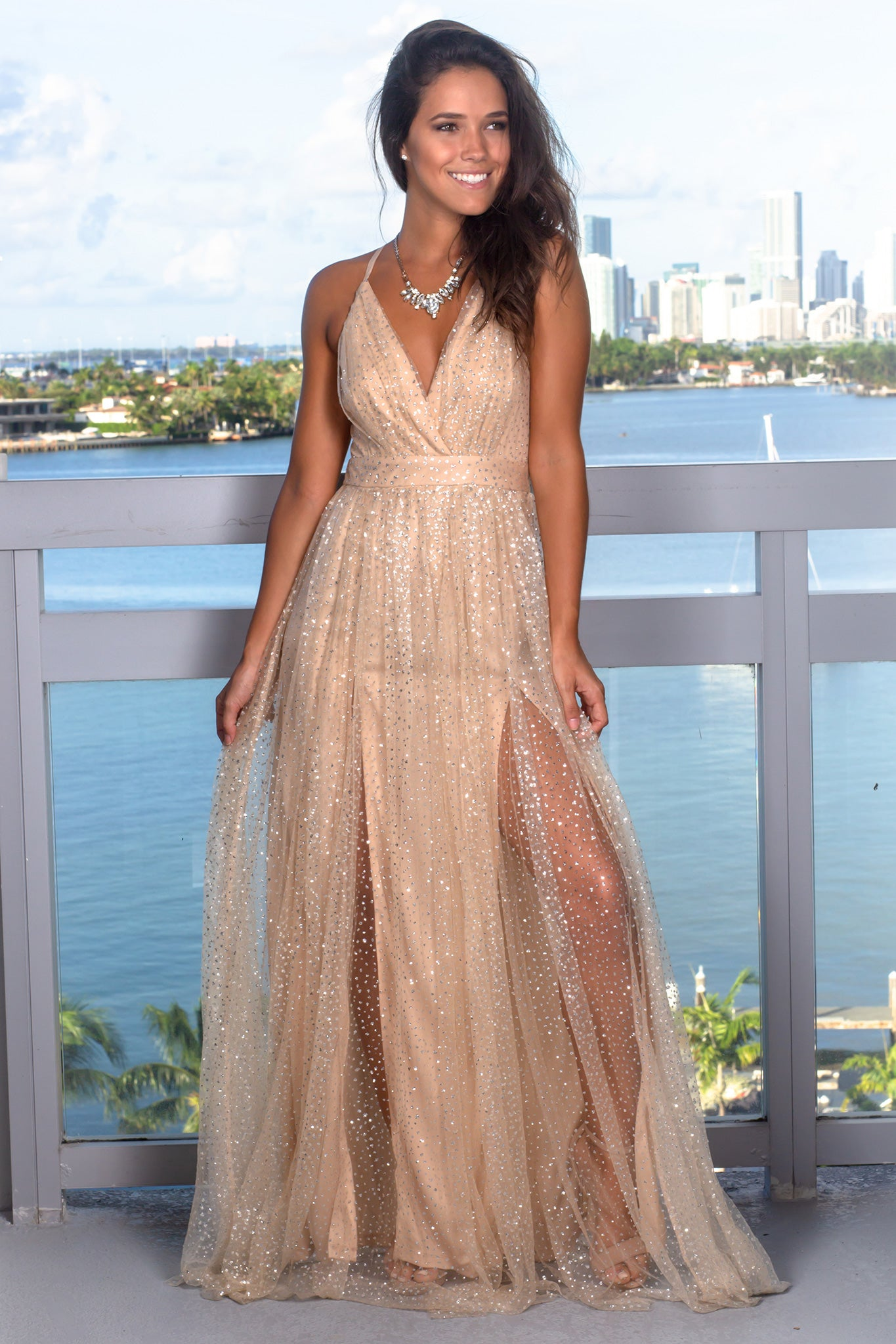 Nude Maxi Dress with Silver Detail | Maxi Dresses – Saved by the Dress