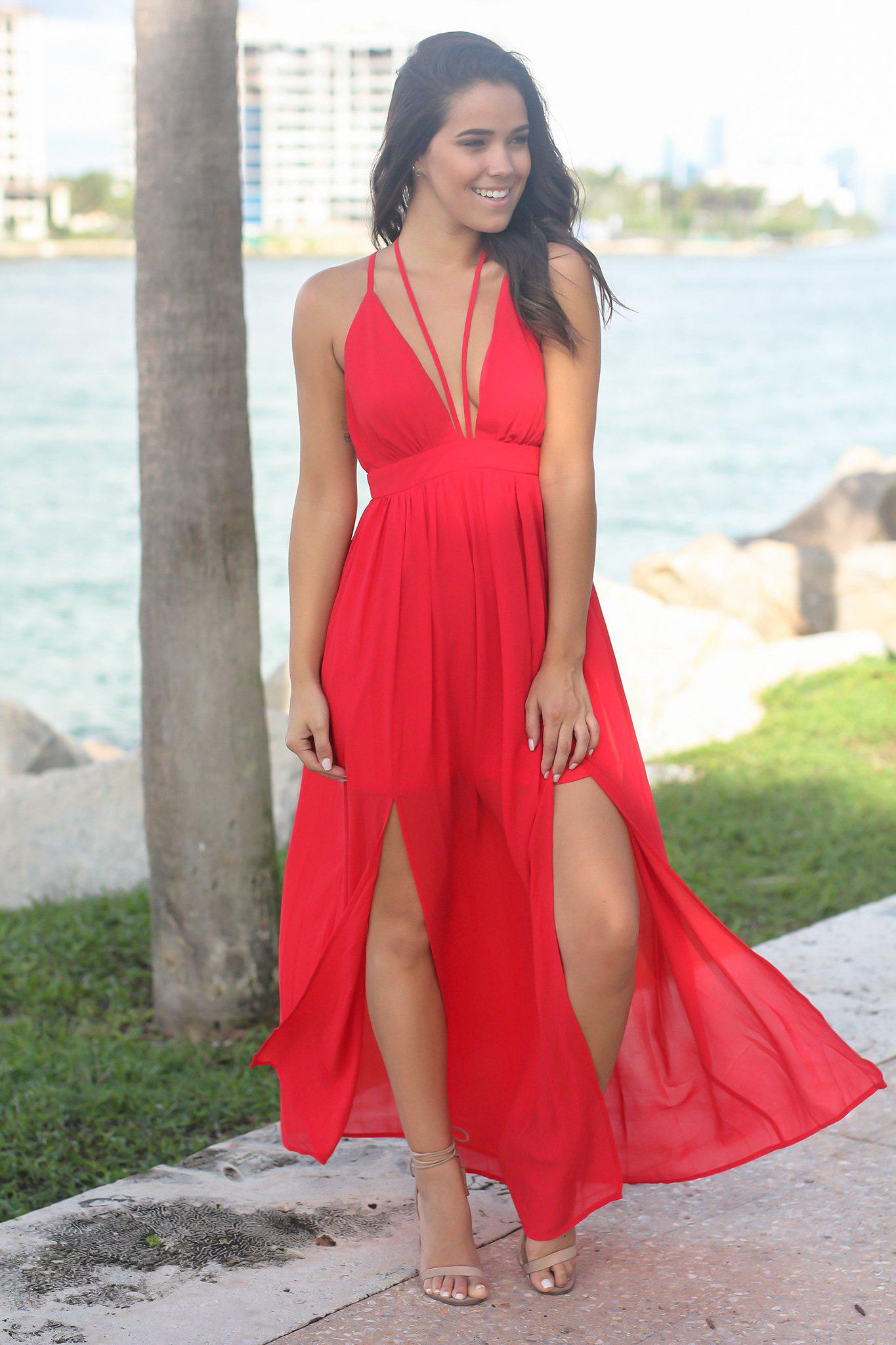 d832eb8c88 Red V-Neck Maxi Dress with Tie Neck | Maxi Dresses – Saved by the Dress