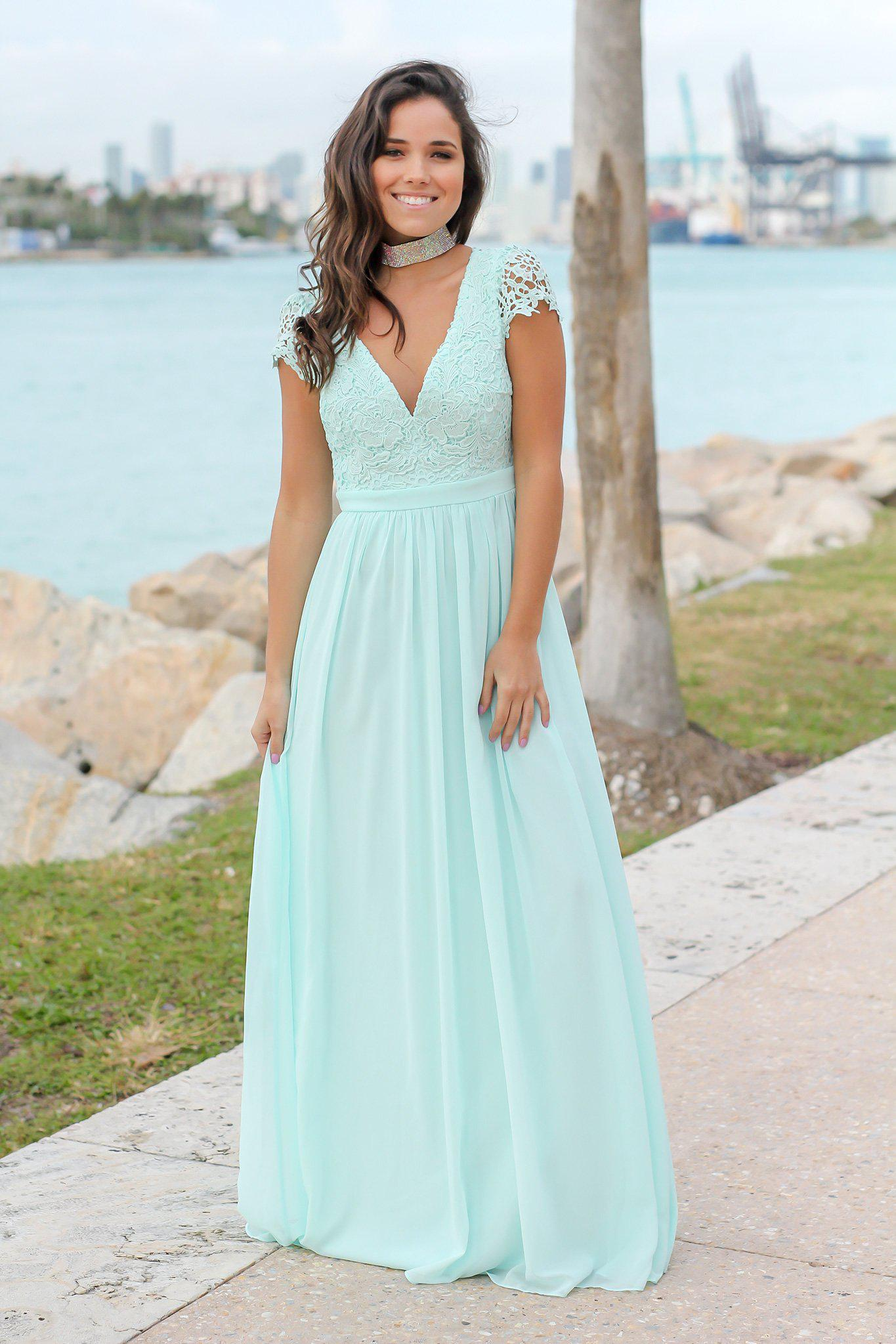 Mint Crochet Top Maxi Dress with Open Back | Maxi Dresses – Saved by ...