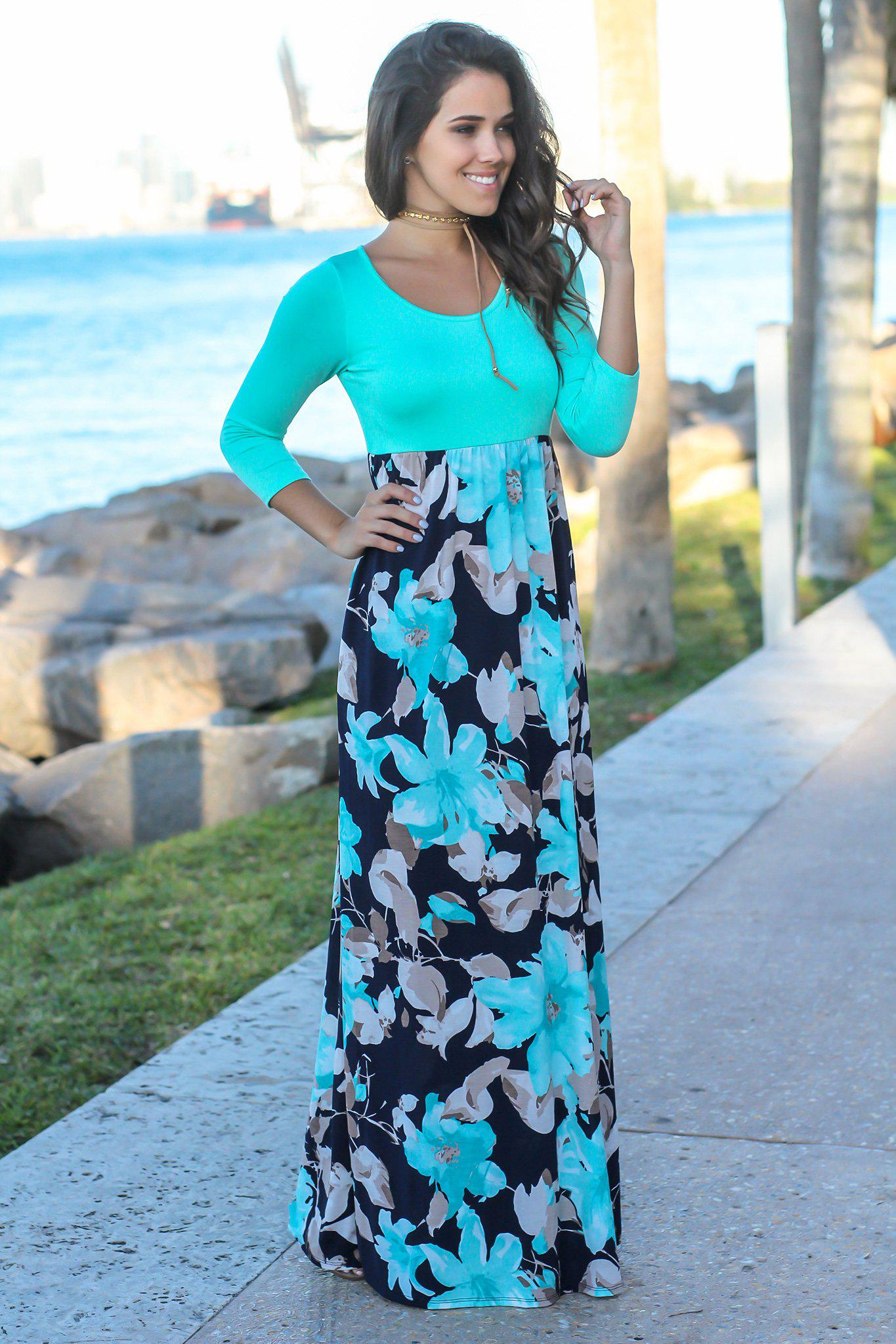 639ae95f1e2 Floral Dresses  Dress Boutiques  Maxi Dresses  Navy and Mint Floral Maxi  Dress with 3 4 Sleeves ...