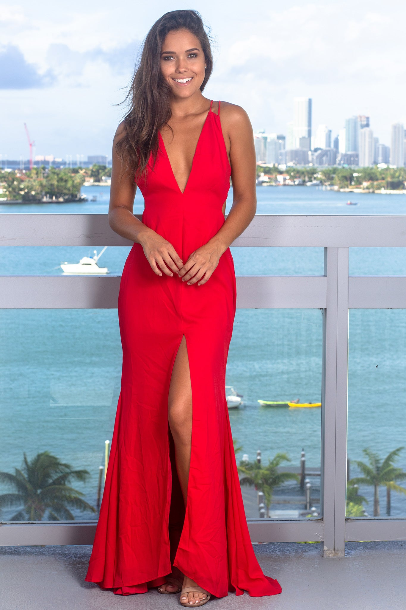 b9bbe55f33 Red V-Neck Maxi Dress with Front Slit | Maxi Dresses – Saved by the ...