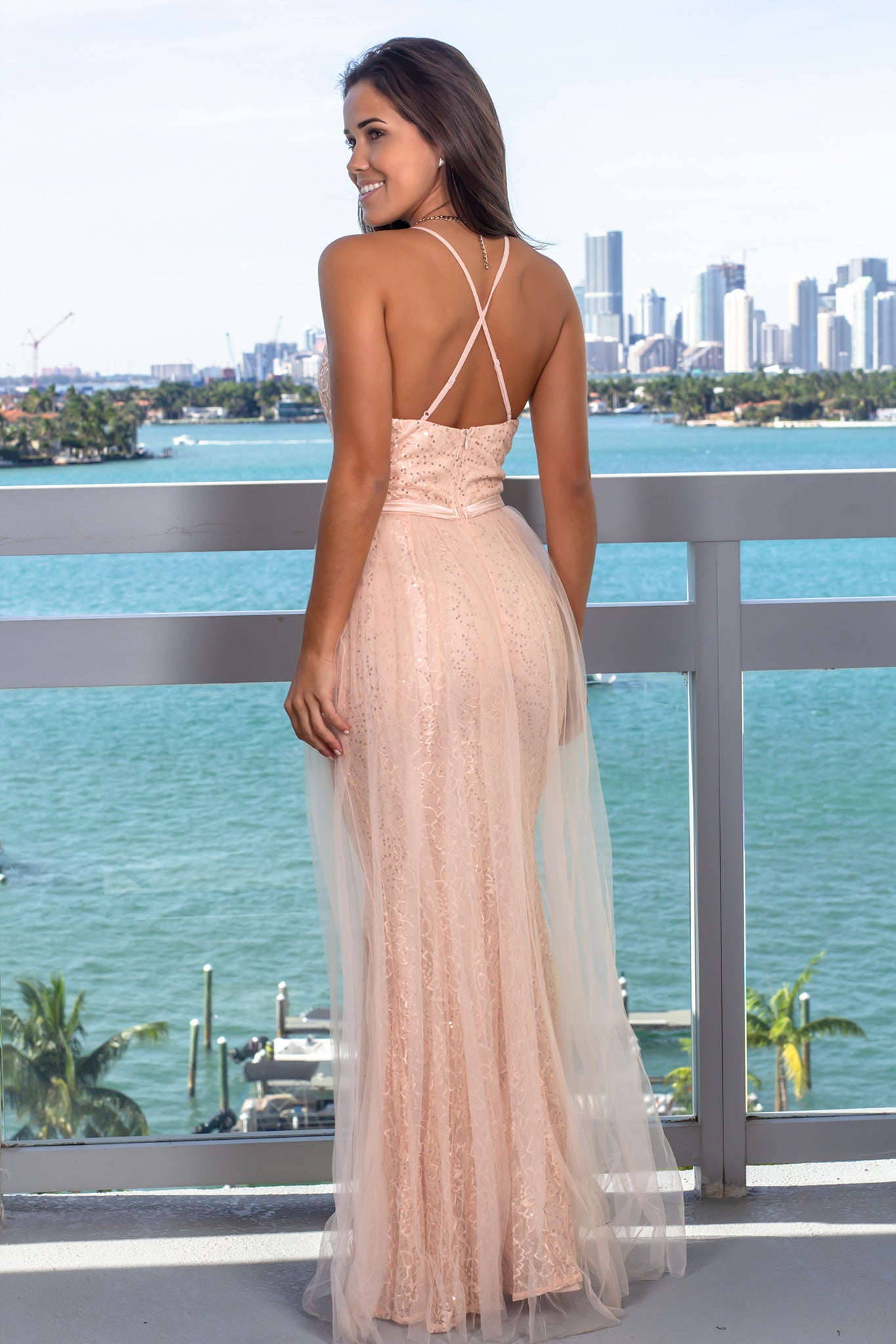 ee13b6a5d4 Blush Lace Maxi Dress with Tulle Detail  Dresses  Dress Boutiques  Maxi  Dresses ...