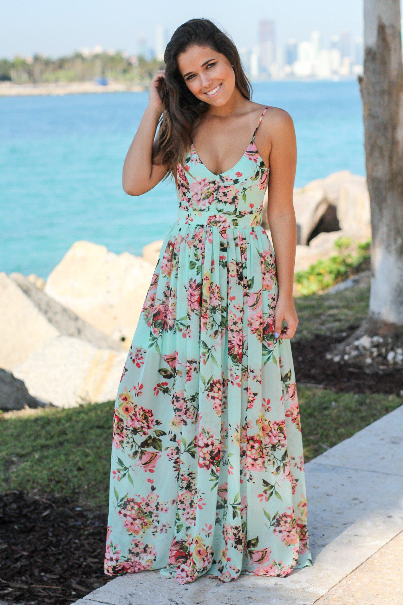 b1156e9432 Mint Floral Maxi Dress with Open Back; Dress Boutiques; Beautiful Dresses;  Dresses Online; Maxi Dresses ...
