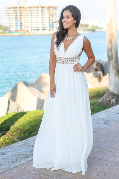 46c0bf8fbef Ivory Maxi Dress with Crochet Details