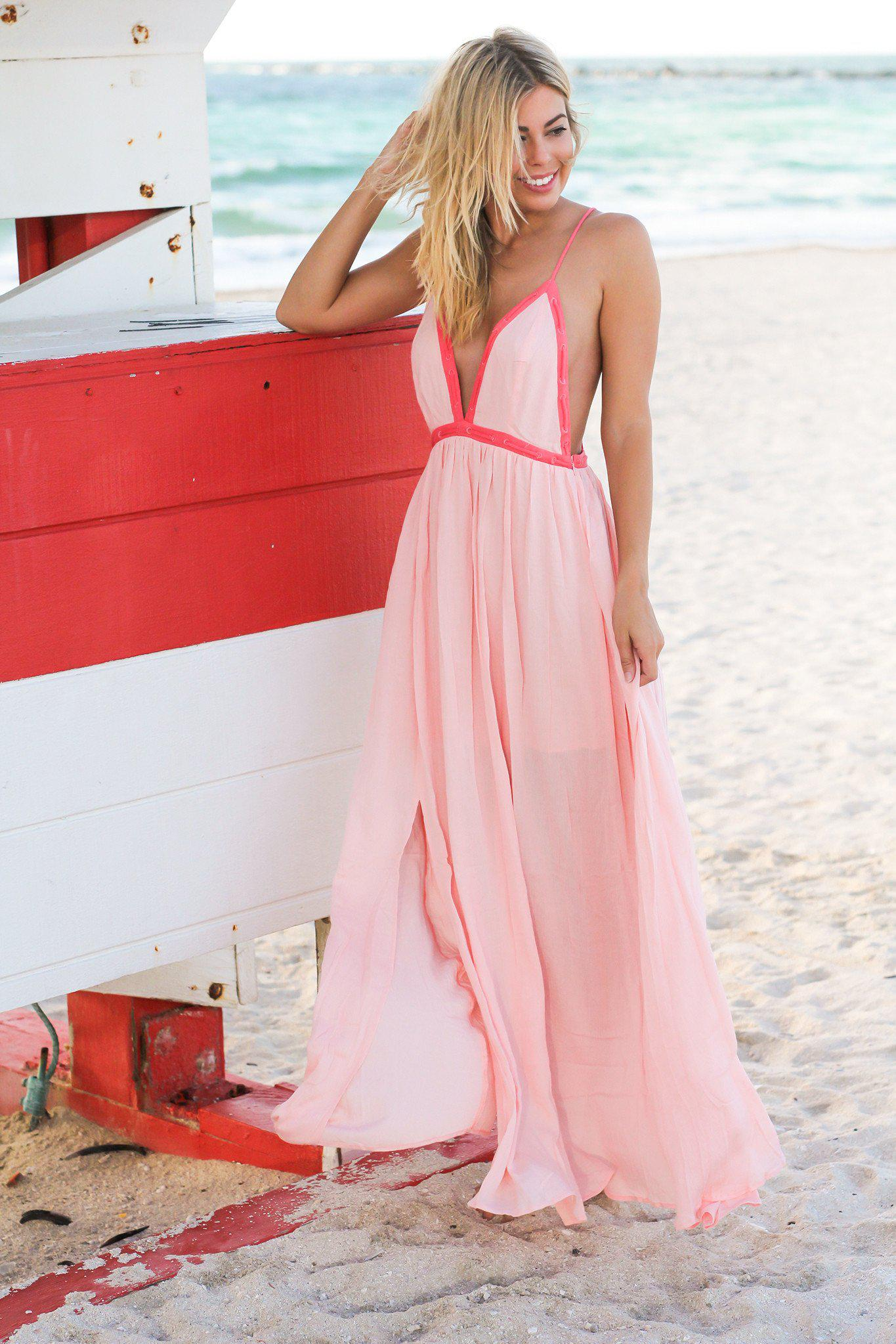Melon Maxi Dress with Criss Cross Back