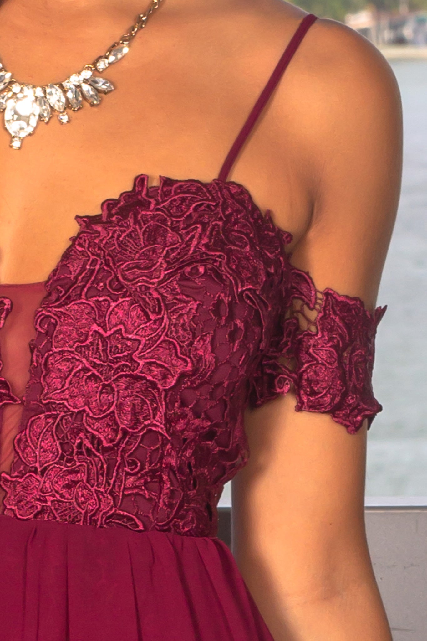 Merlot Crochet Top Maxi Dress