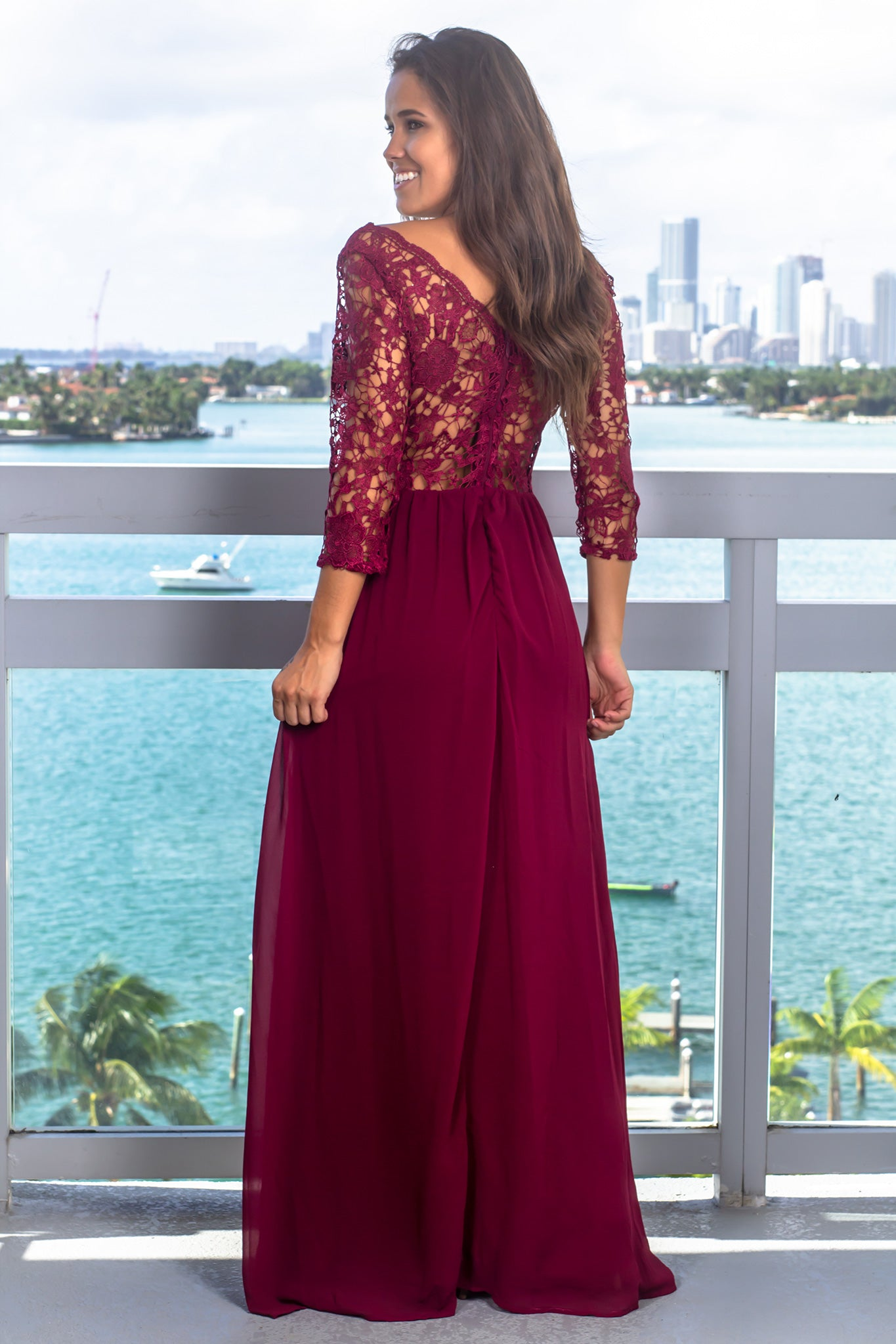 Merlot Embroidered Top Maxi Dress with 3/4 Sleeves