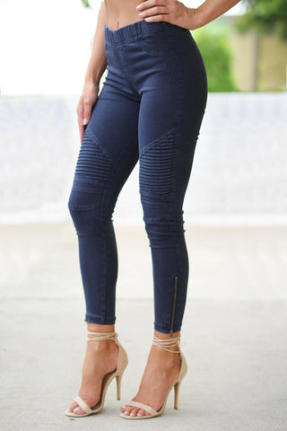 Midnight Blue Moto Jeggings with Ankle Zippers