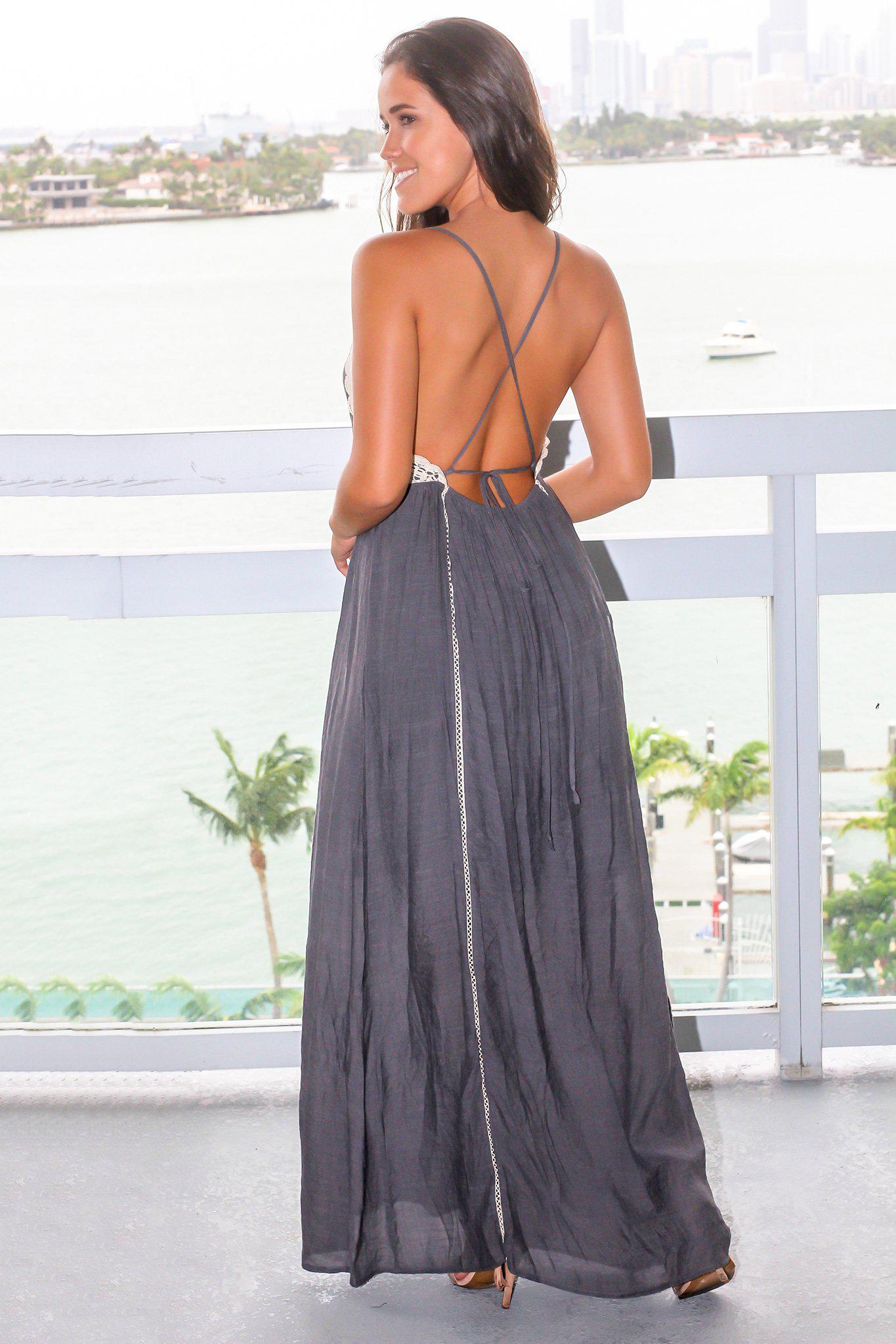 Midnight Maxi Dress with Natural Crochet Detail