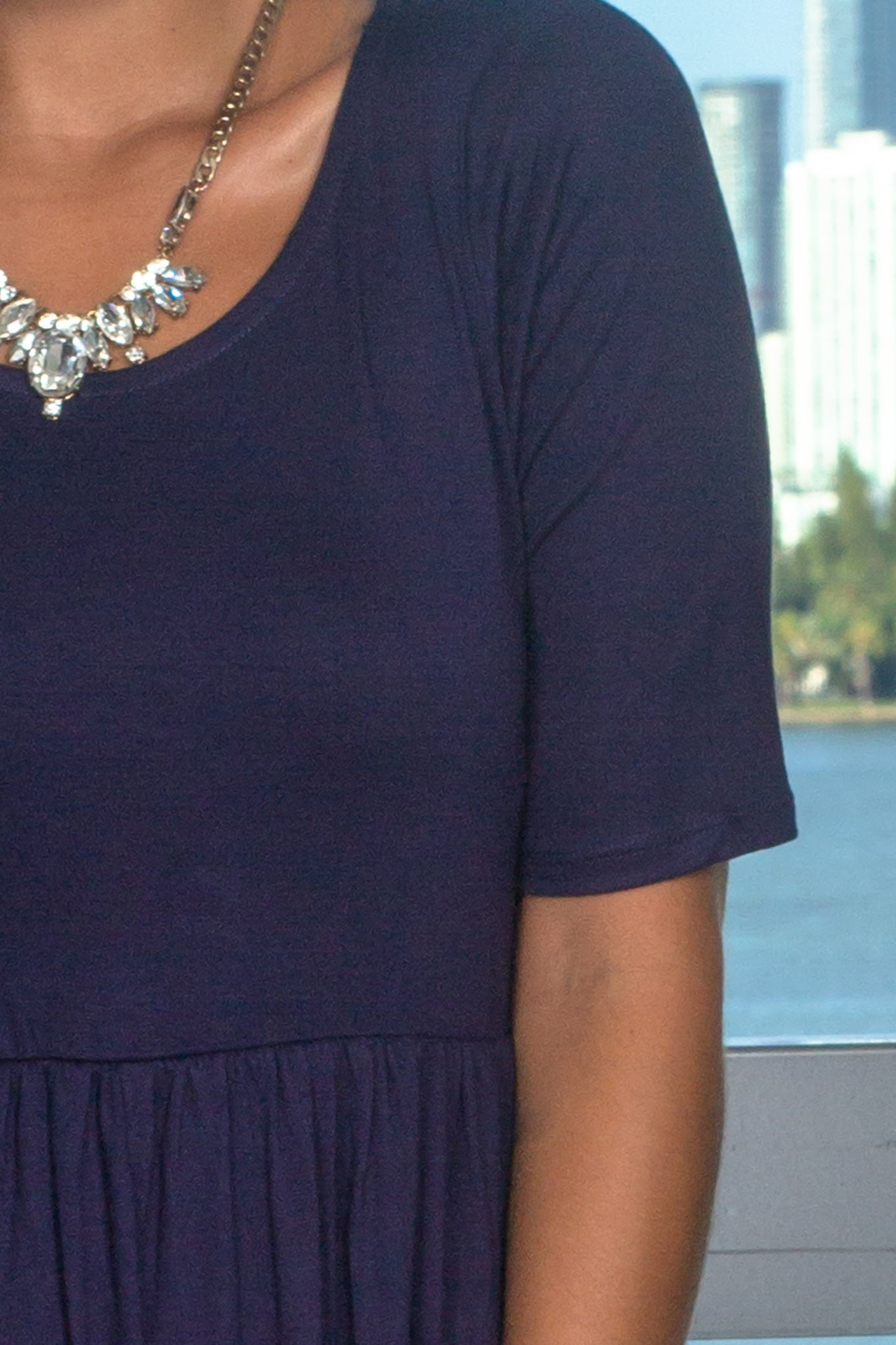 Midnight Navy Maxi Dress with 1/2 Sleeves