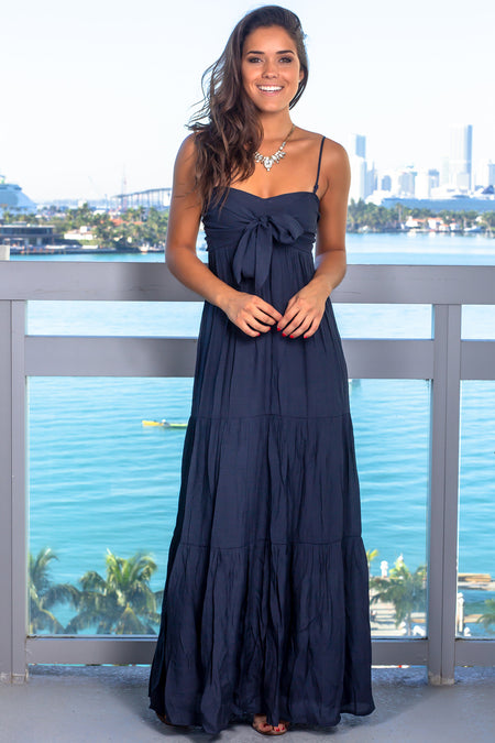 Midnight Navy Maxi Dress with Tie Front
