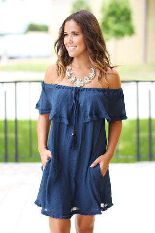 Midnight Navy Off Shoulder Ruffle Short Dress