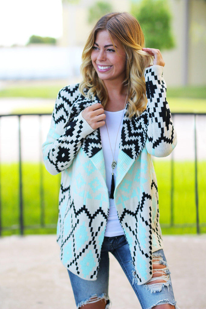 Mint And Black Printed Cardigan