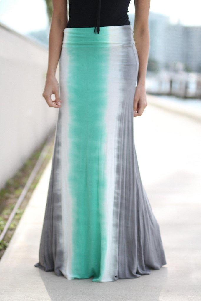 mint and gray long skirt