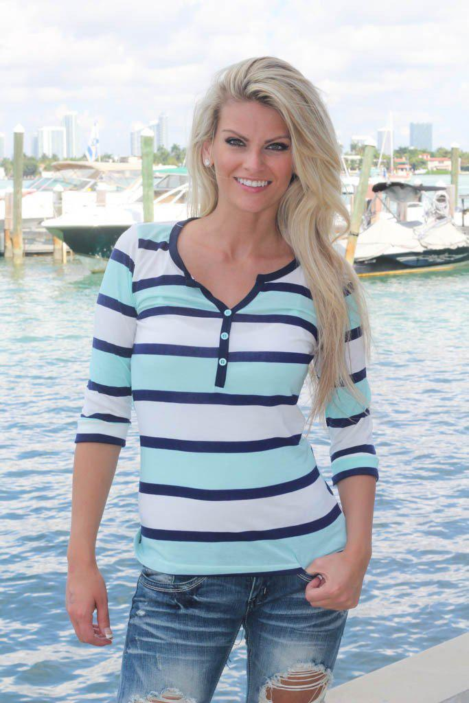 Mint And Navy Striped Top