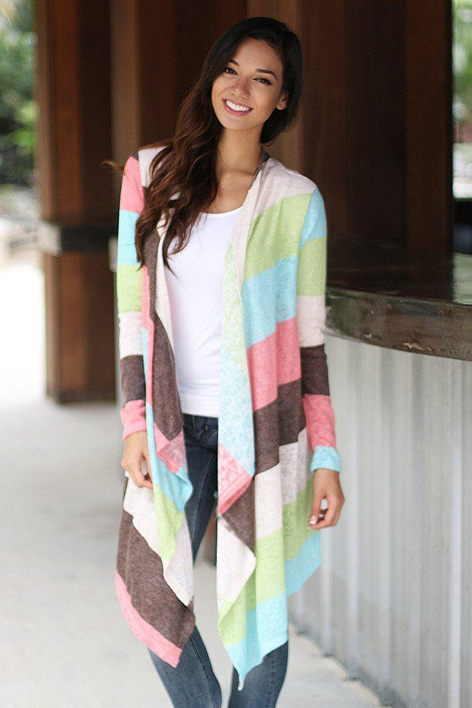 Mint And Pink Long Cardigan
