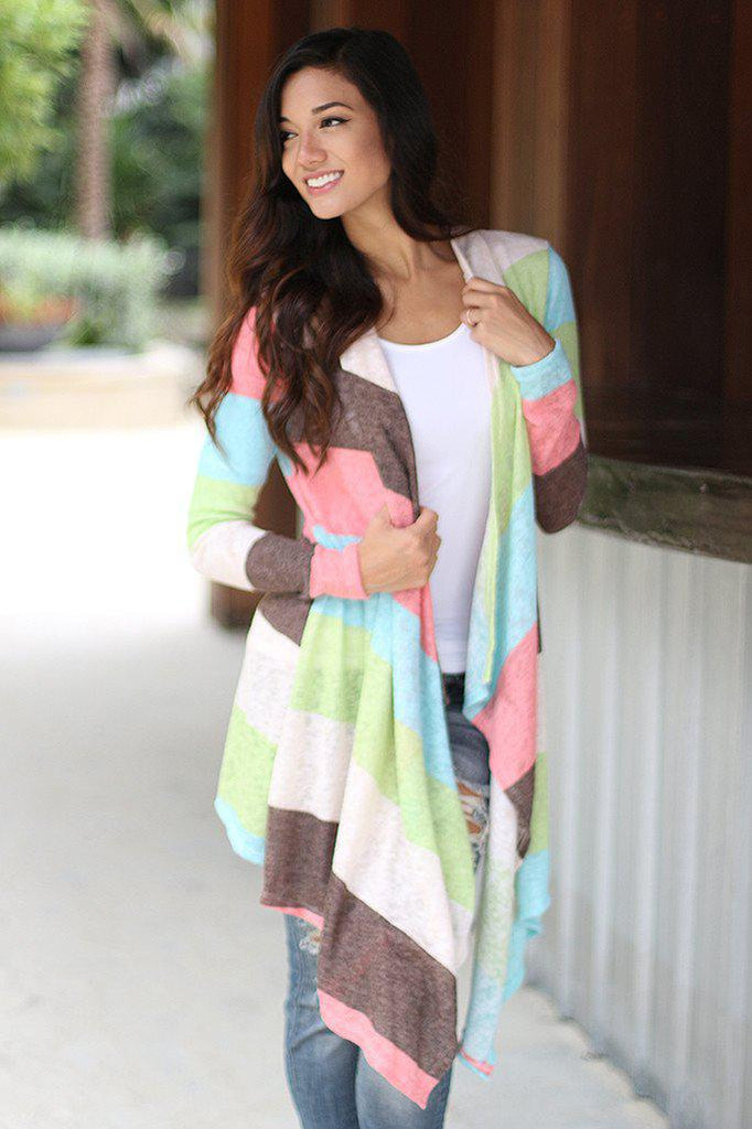 mint and pink cardigan