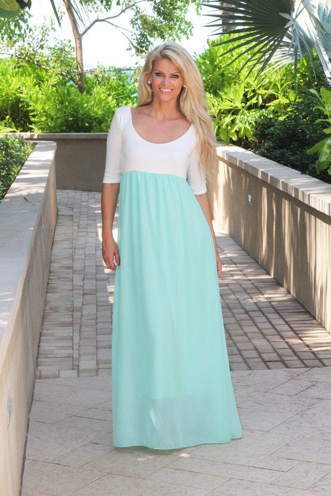 Mint And White Maxi Dress