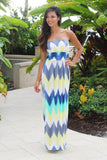 mint and yellow long dress