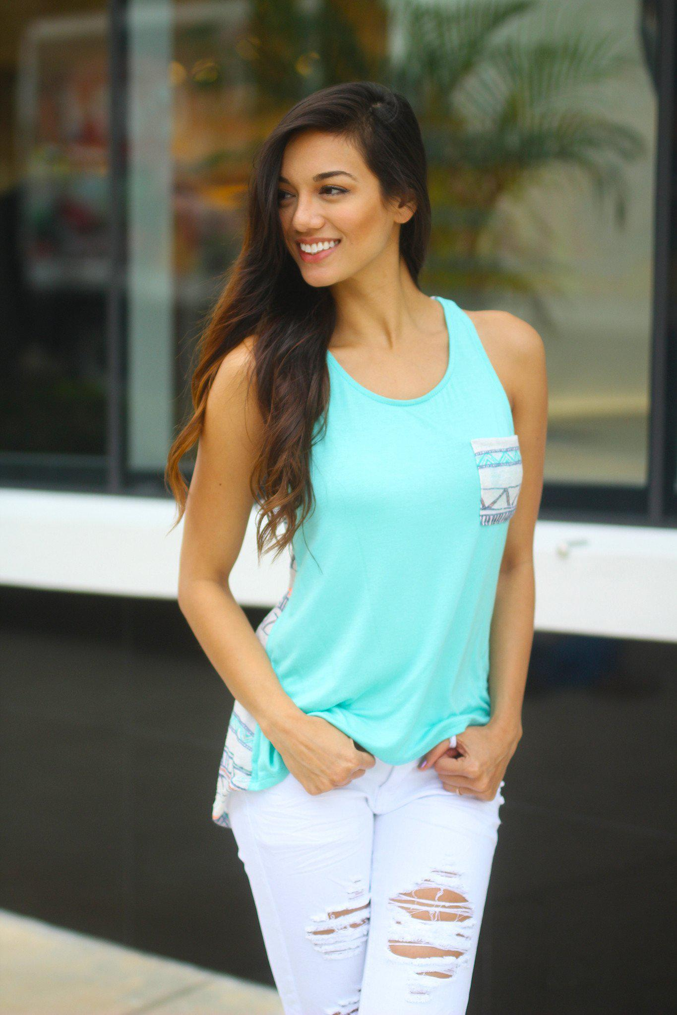 Mint Aztec Tank Top with Pocket