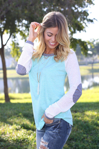 Mint Baseball Tee with Elbow Patches
