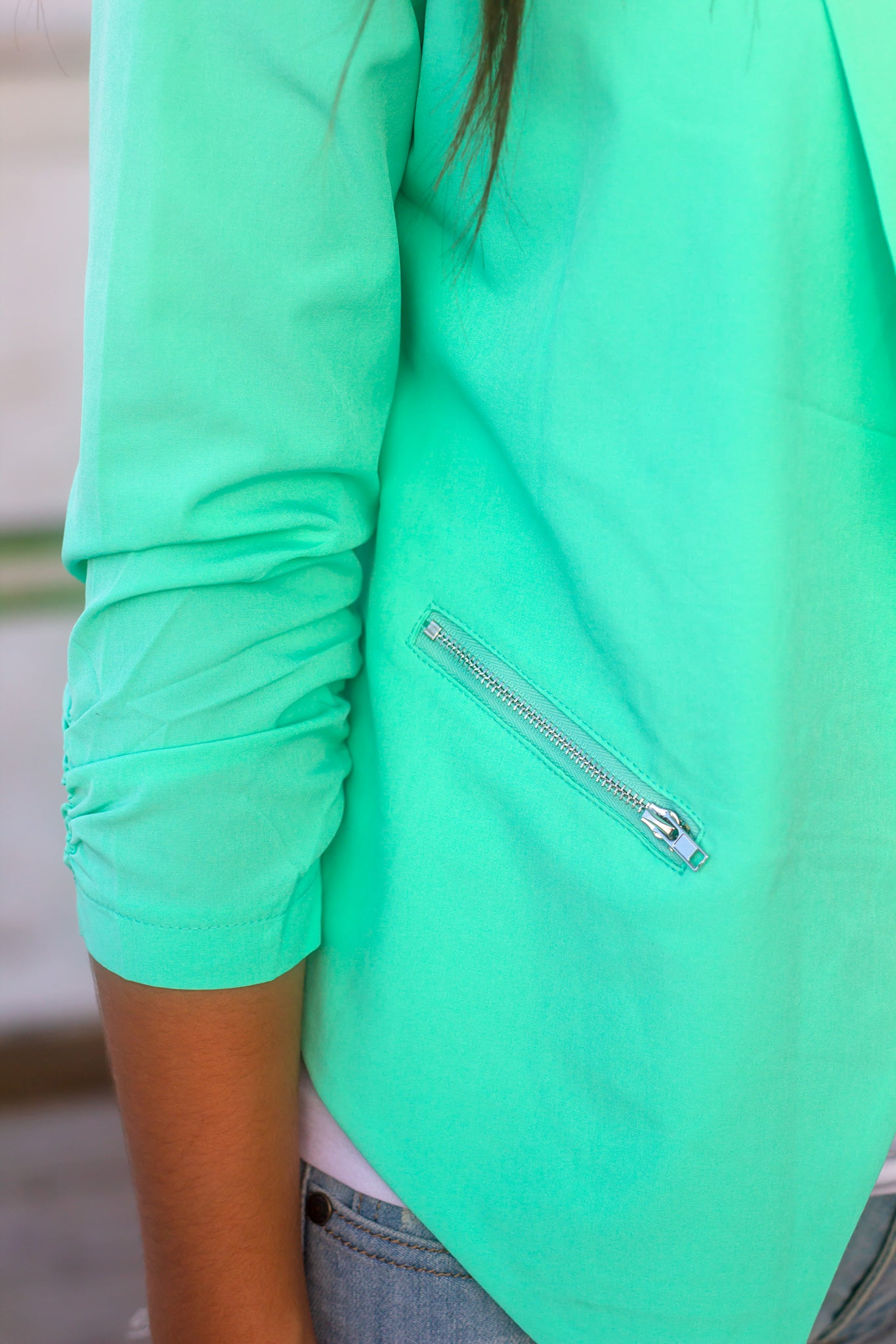 Mint Blazer with Zipper Pockets