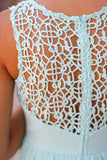 mint crochet back dress