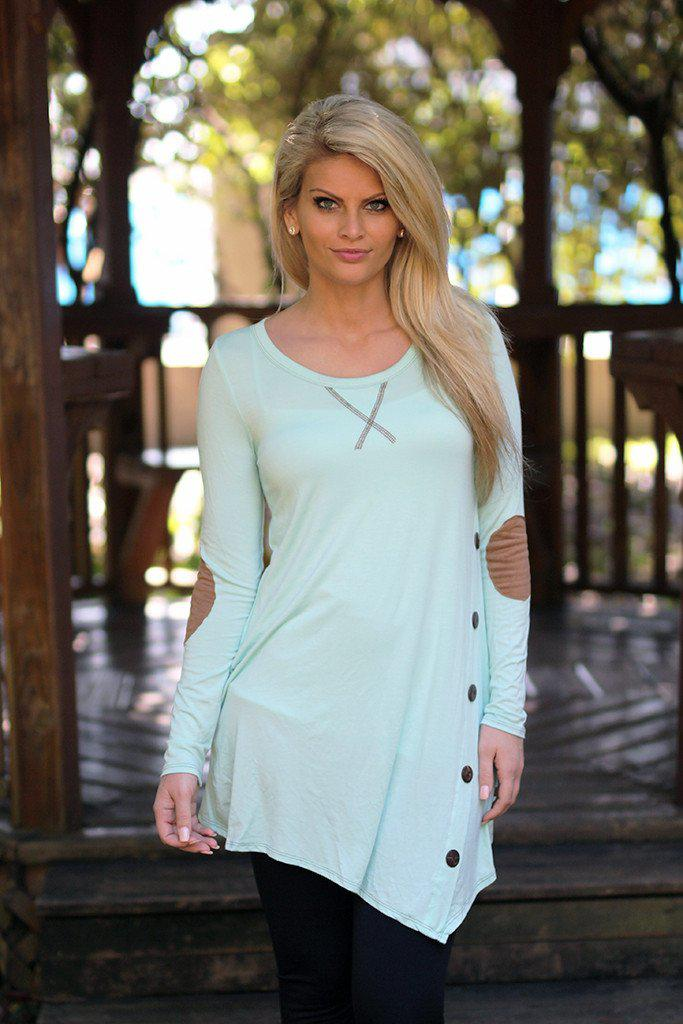 Mint Button Top with Pockets