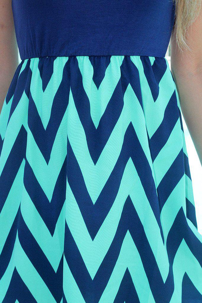 navy short dress with mint chevron print