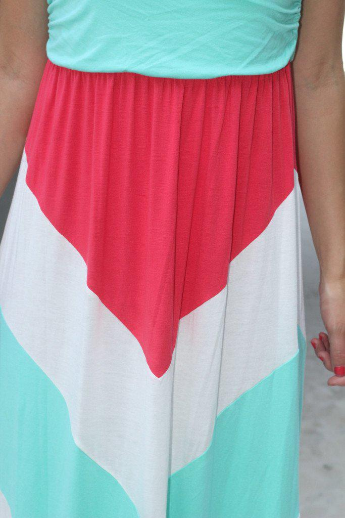 Mint and Coral Chevron Maxi Dress