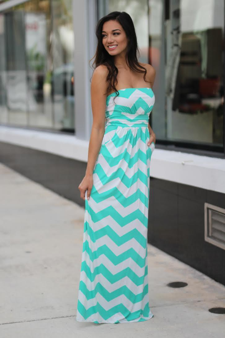 Mint and White Chevron Maxi Dress with Pockets