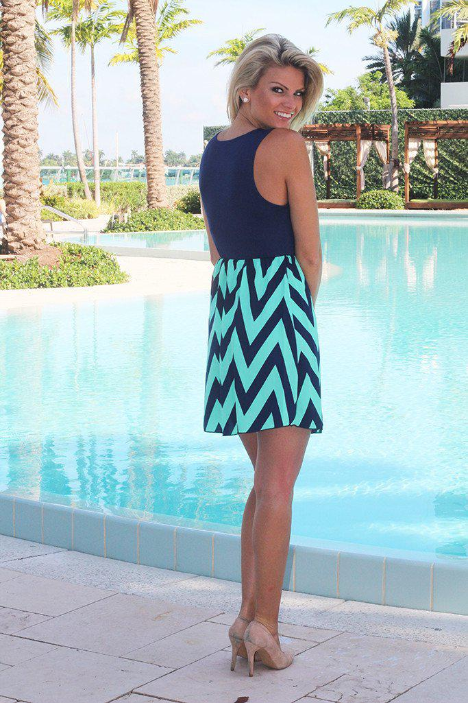 Navy and Mint Chevron Short Dress