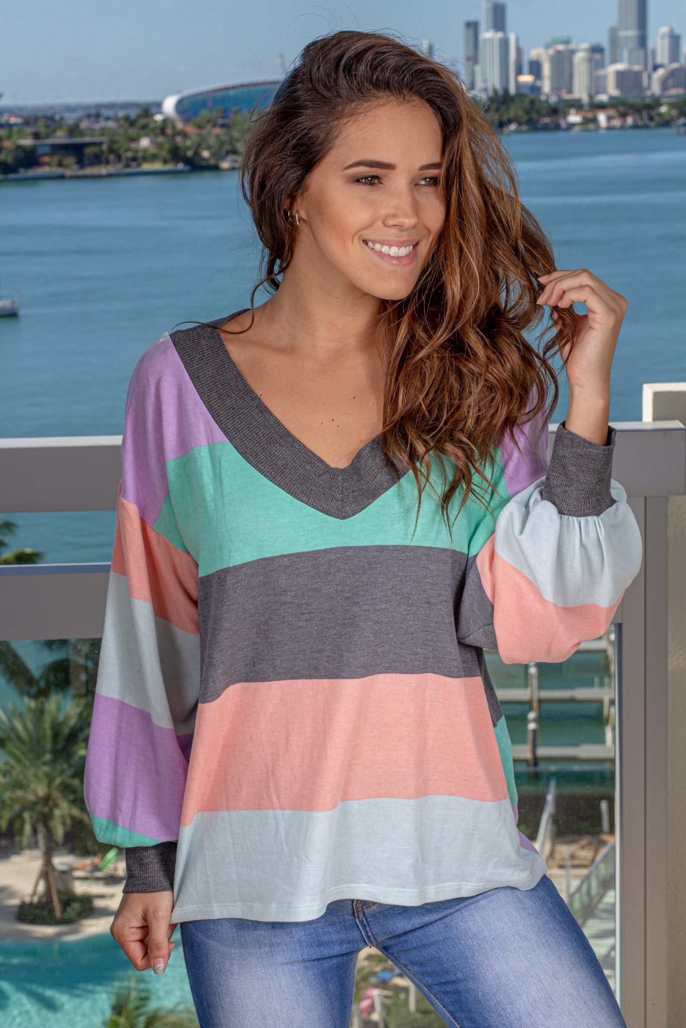 Mint Color Block Long Sleeve Top