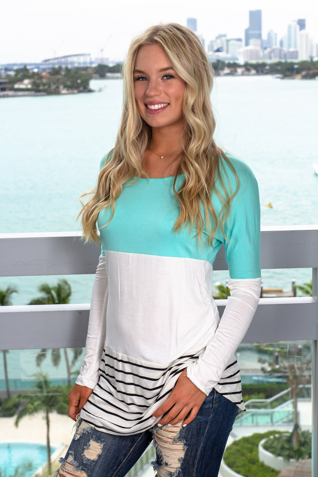 Mint Color Block Top with Crochet Back