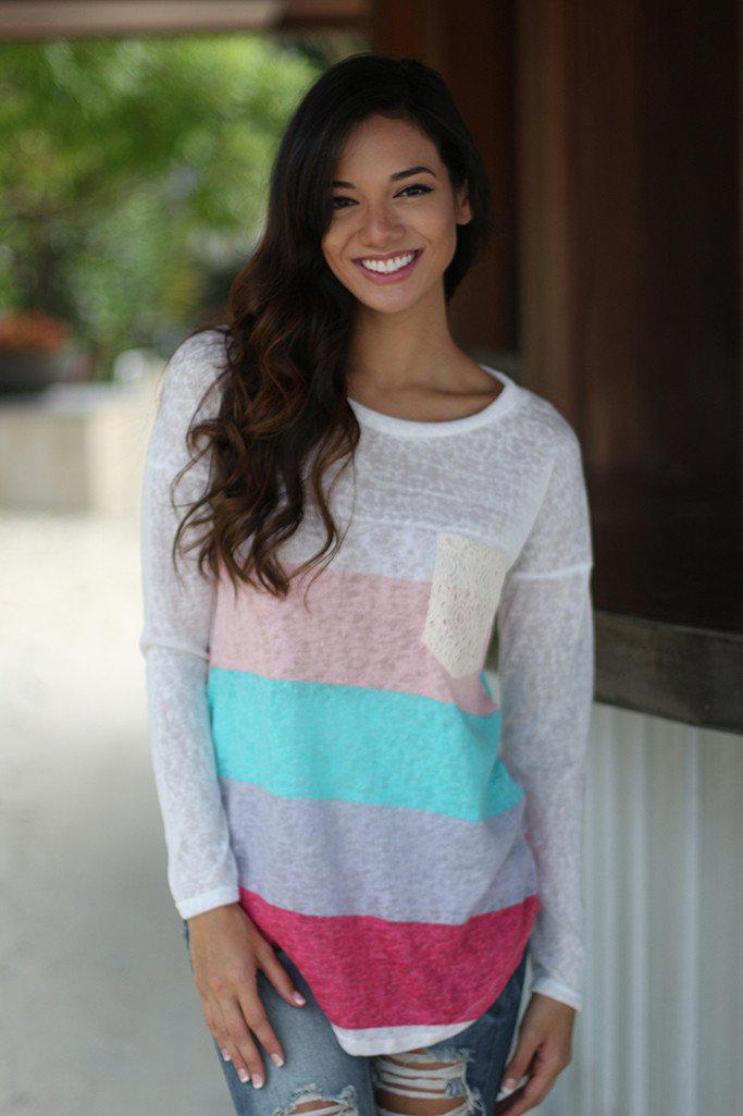 Coral And Mint Long Sleeve Top With Crochet Pocket