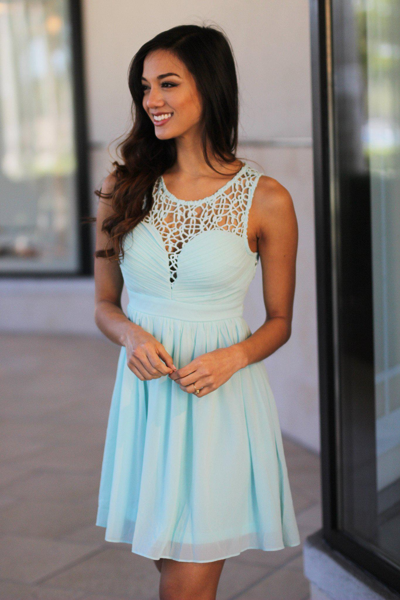 Mint Crochet Short Dress