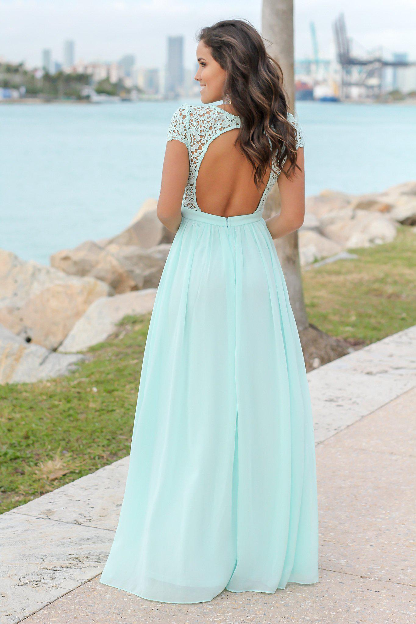 Mint Crochet Top Maxi Dress with Open Back