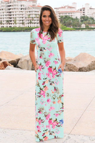 Mint Floral Maxi Dress with Short Sleeves