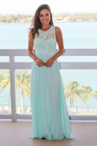 Mint Chiffon Maxi Dress with Lace Top