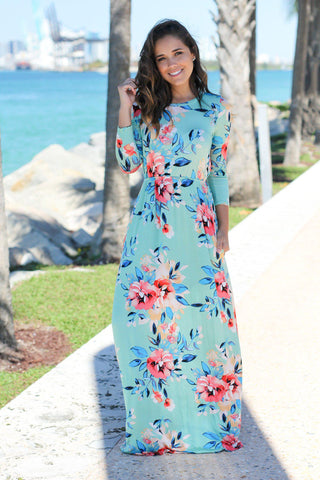 Mint Floral Maxi Dress with 3/4 Sleeves