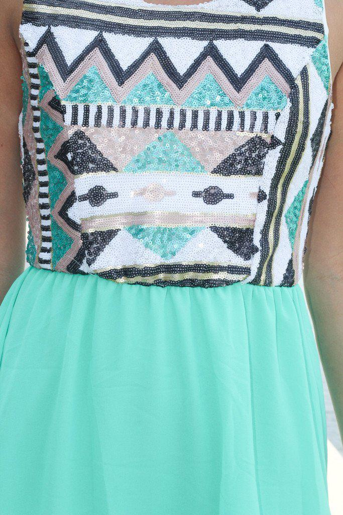 Mint High Low Dress with Sequin Top