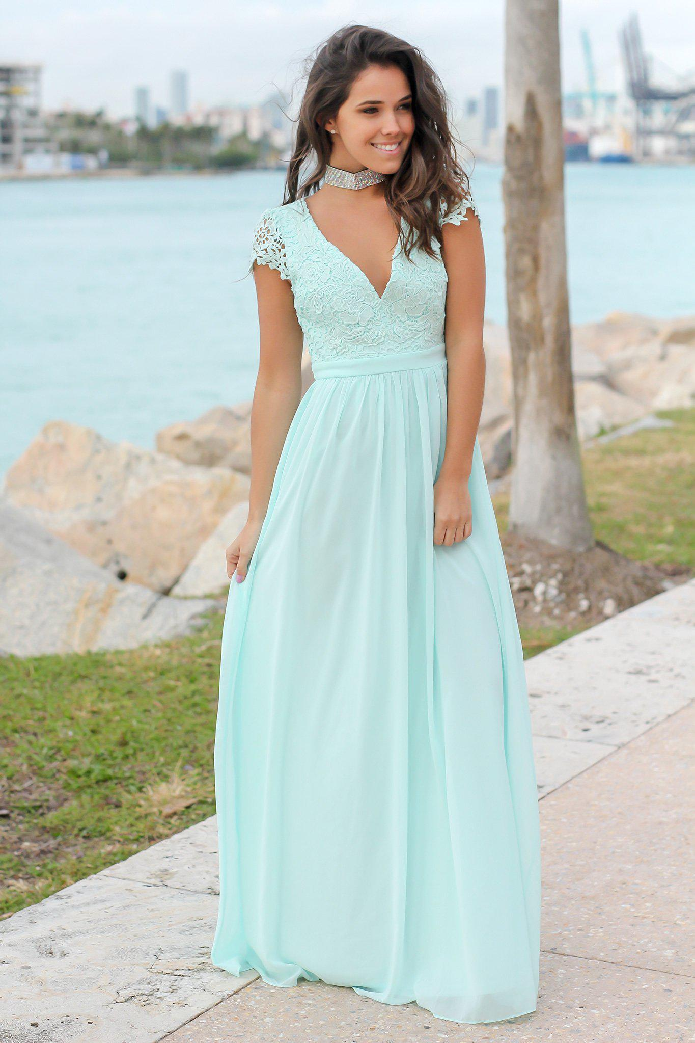 0f6417d9ef Mint Crochet Top Maxi Dress with Open Back | Maxi Dresses – Saved by the  Dress