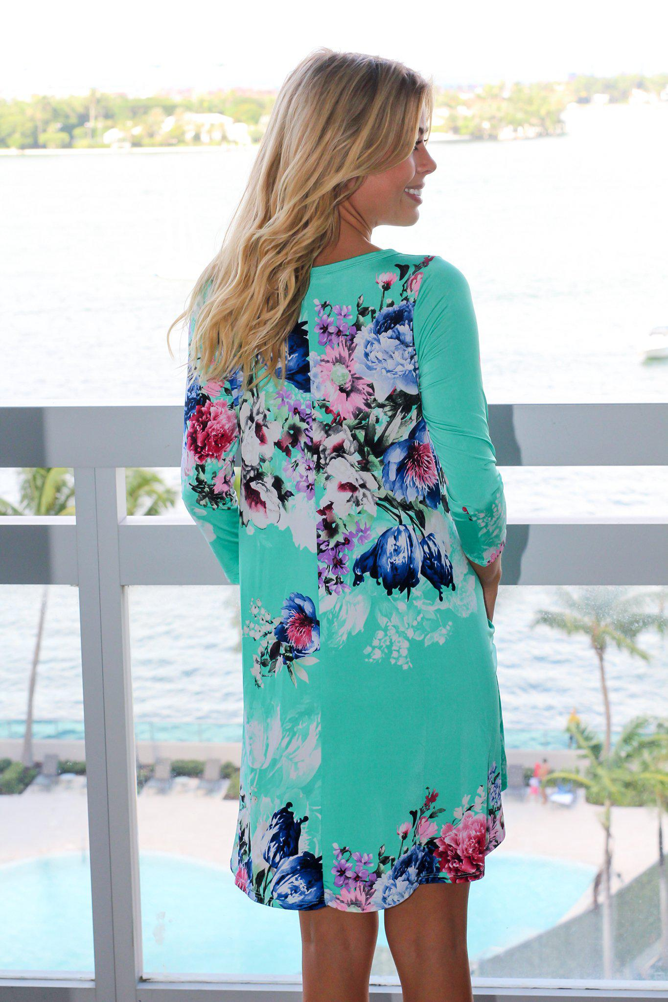 Mint Floral 3/4 Sleeve Shift Dress