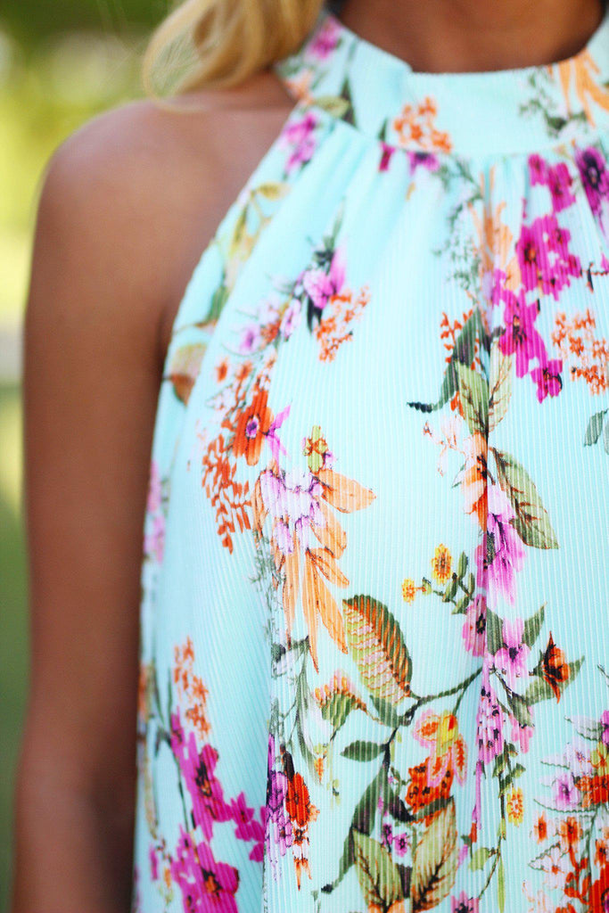 Mint Floral Pleated Short Dress