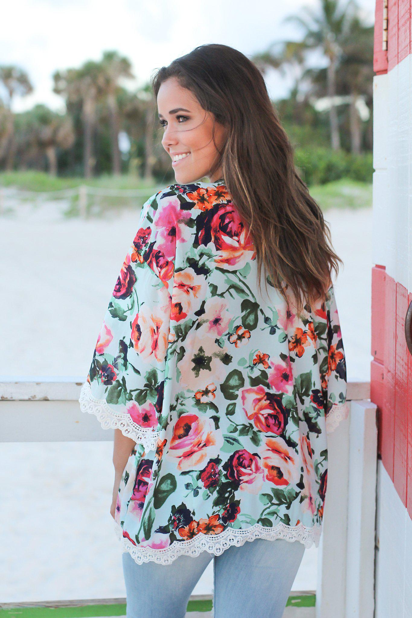 Mint Floral Kimono with Lace Detail