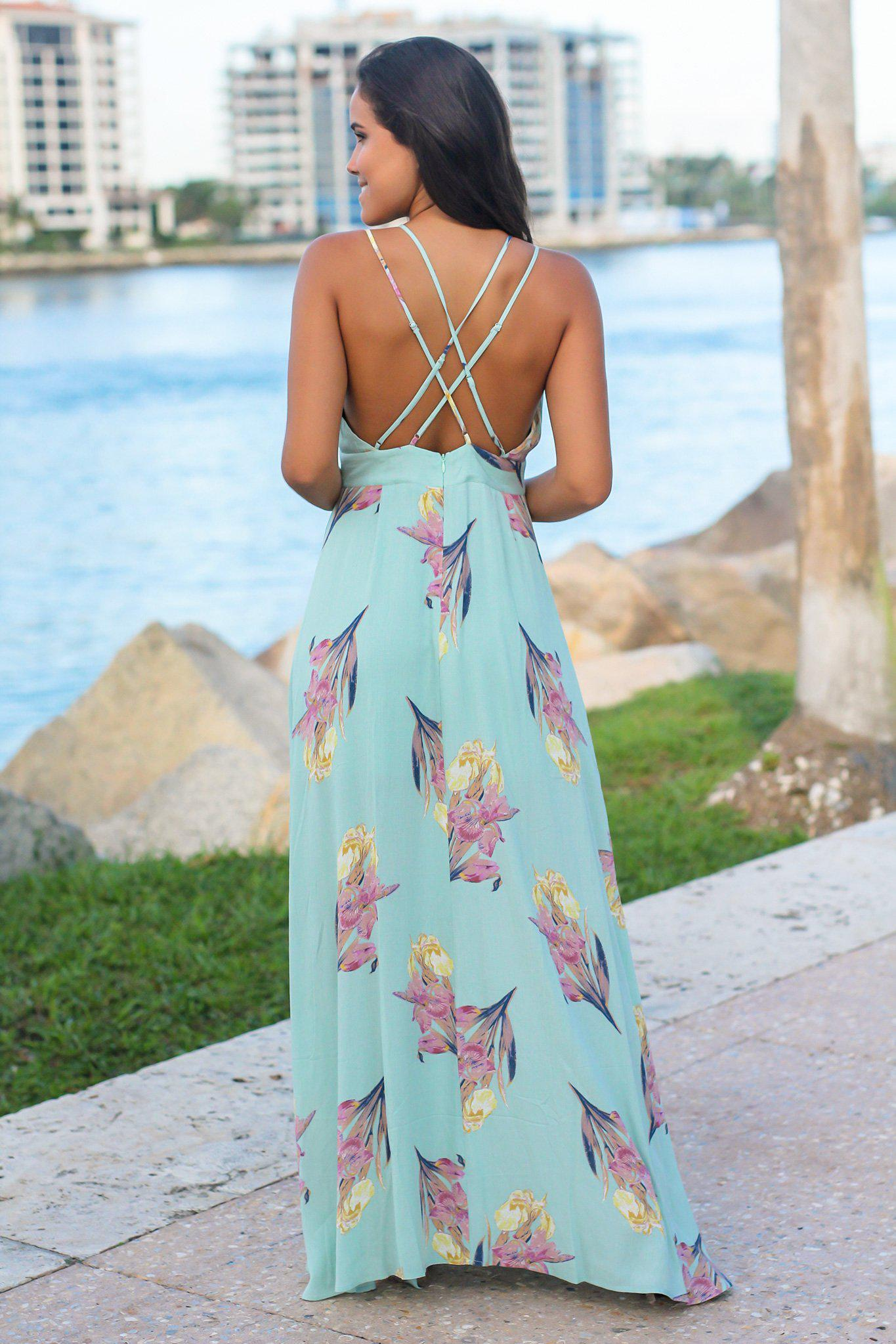 Mint Floral Maxi Dress with Criss Cross Back