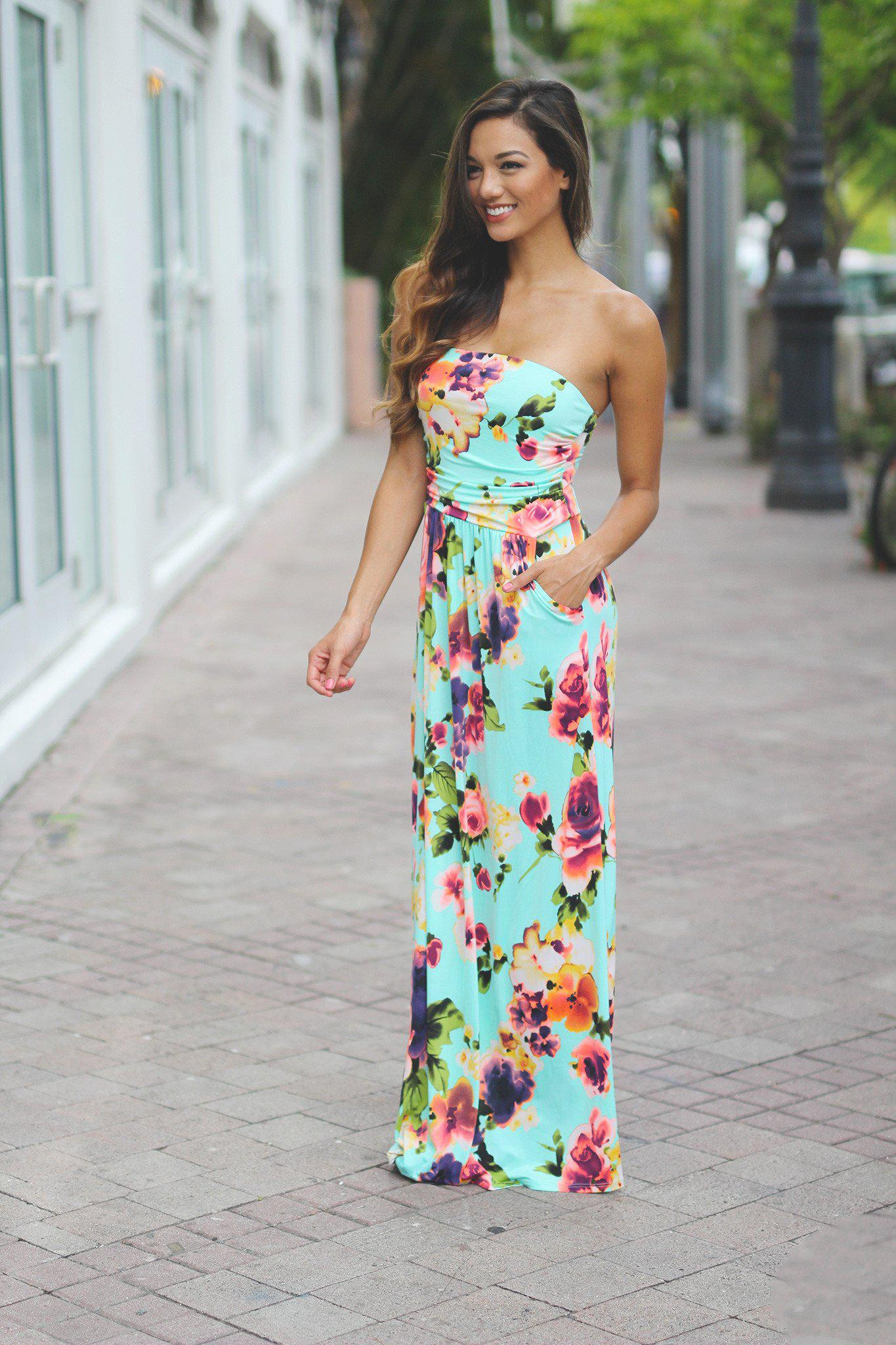 Mint Floral Maxi Dress with Pockets